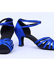 Zapatos Mostrar Mujeres Clásico Satén Leather Face Arch Correa Chunky Heel Shoes Latina tacón 6cm (azul)