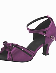 Customized Woman's Purple Satin Latin Dance Shoes