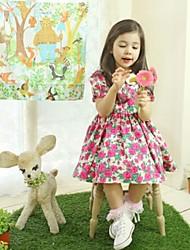 Vestidos Voltar Zipper Flores da menina
