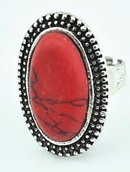 Vintage Female Turquoise Adjustable Ring (Red)(1pcs)