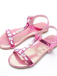 Girls' Flat Heel T-strap Sandals with Rhinestone Shoes(More Colors)