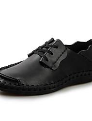 Men's Spring Summer Fall Comfort Leather Office & Career Flat Heel Lace-up Grey Tan Black Brown