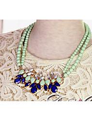 Cotingbo Women's Sweets Green Gem Flower Diamond  Short Necklace