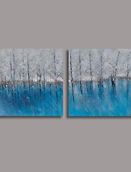 Hand Painted  Oil Painting Modern Abstract with Stretched Frame Set of 2