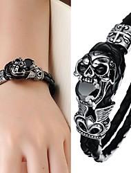 Super Cool мужская кожаная Рок Мода Идеи Дьявол черепа браслет
