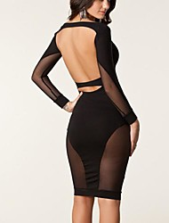 Vestido transparente de malha Hip emenda Sexy Pacote da mulher