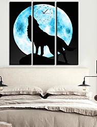 Le Loup Dans La Lune Horloge dans 3pcs toile
