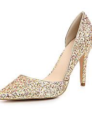 Casamento stiletto de bico fino couro de patente das Mulheres Bombas com Lantejoula Shoes
