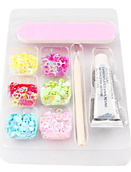 Splendid Nail & Nail Art Decoration Kit(6 Colors Nail Art Decoration & Nail Glue & Nail File & 1 PCS Bamboo Stick)