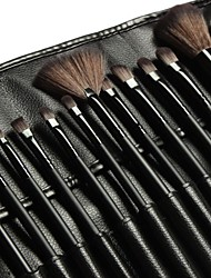 18Pcs Makeup Brush Set Synthetic Hair Black Timber Handle with Black Leather Bag
