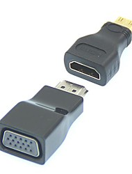 2 em 1 1080P Mini HDMI / HDMI para VGA Video Converter