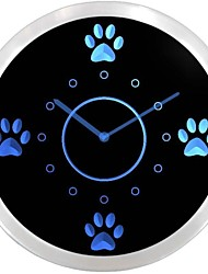 nc0991 Cute Dog Paws Pet Grooming Neon LED Wall Clock Accedi