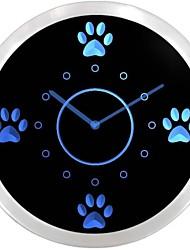 nc0991 mignon de pattes de chien Toilettage pour animaux néon LED Horloge murale Connexion