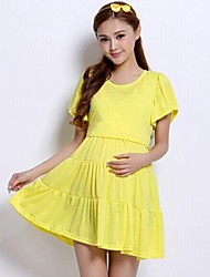 4Colors High Waist Maternity Nursing Dress Puff Sleeve Pregnant Clothes and Breast Feeding Clothing