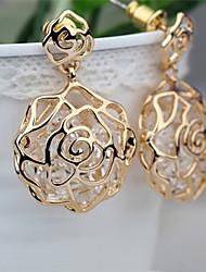 Mjl Beauty Solid Hollow BuiltIn Flash Zirconium Rose Stud Earrings