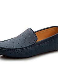 Men's Spring Summer Fall Comfort Moccasin Leather Office & Career Casual Flat Heel Navy Brown Khaki
