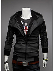 Men's Contrast Color Causal Slim Hoodied Hoodie Cardigan