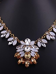flor púrpura collar de piedras preciosas de cristal de las mujeres