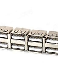 Dual USB Adaptadores hembra - Plata (4 PCS)