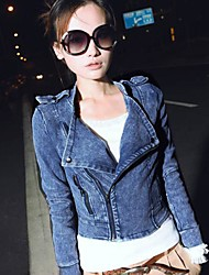 Women's Denim Coat Motorcycle Jeans Blazer Jacket