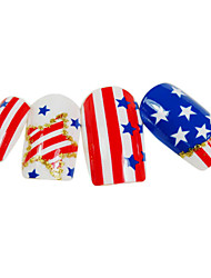 24PCS American Flag Style Nail Art Tips With Glue