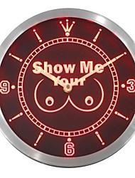 montrez-moi votre seins enseigne au néon conduit horloge murale