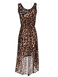 leopardo de gasa sin mangas vestido asimétrico de las mujeres