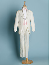 Black / Ivory Polyester Ring Bearer Suit - 5 Pieces Includes  Jacket / Shirt / Pants / Waist cummerbund / Bow Tie