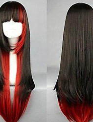 Stylish Long Charm Lolita Red Black Red Mixed Straight Anime Cosplay Party Wig