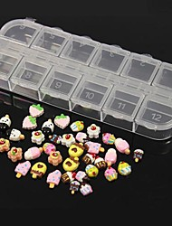 36PCS 12 Design Random Cute Candy&Icecream Acrylic Resin Set Nail Art Decoration