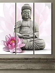 Stretched Canvas Art Lotus And The Buddha  Set of 3