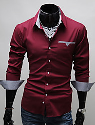 tizeland camisa de manga larga de cuello de solapa vaina de los hombres