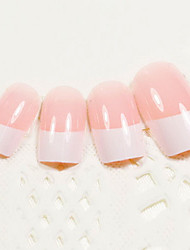 24PCS White Fingertip Design Pink Nail Art French Tips With Glue