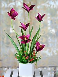 """18 """"H style moderne Orchidées arrangement avec le blanc Vase en céramique"""