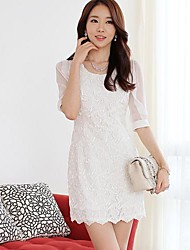 Women's Dress Above Knee White Fall