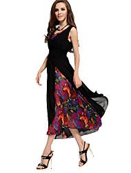 Women's Print Black Dress , Bodycon/Beach/Casual/Party/Work/Maxi V Neck Sleeveless