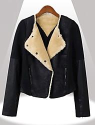 De Yinbo winter vrouwen korte cashmere ayered echt lederen jas