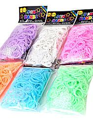 600pcs arco-íris borracha luzes cor tear noite fashion tear band (clipe 1package s, cores sortidas)