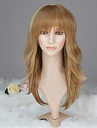 Women Capless Fashion Long Wavy Mixed Honey Blonde Synthetic Wig with Full Bang