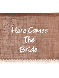 """Here Comes The Bride"" White Fonts Flower Girl Banner/Photo Booth Props with Flower Pattern"