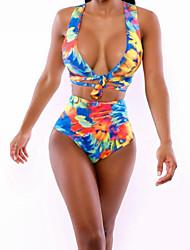 Women's Halter Tankinis , Floral Wireless/Padless Bra Others Multi-color