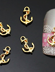 10PCS 9*6mm Boat Anchor Shaped Golden Metal Nail Art Decorations