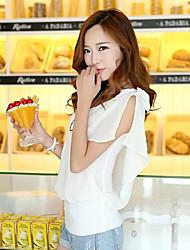 Women's Solid White/Orange/Yellow/Purple Shirt , Round Neck ½ Length Sleeve Bow/Layered