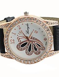 GY Women's Leather Band Butterfly Pattern Diamonade Watch