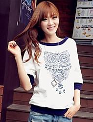Women's Owl Print Color Block Batwing Half Sleeves T-shirt