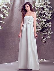 Lan Ting Sheath/Column Plus Sizes Wedding Dress - Ivory Floor-length Strapless Taffeta