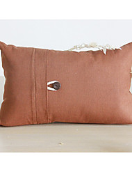 Rectangular Button Solid Cotton/Linen Decorative Pillow Cover