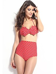 Frauen Polka Dot Bow Bandeau Top High-taillierte Badeanzug