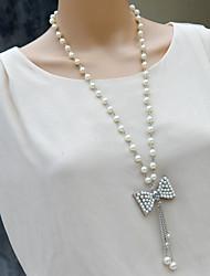 moda siyun high end bowknot forma incrustada necklave longo com strass e pérolas