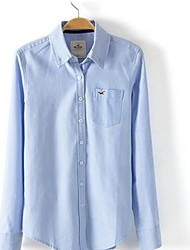 Women's Blue/White Cotton/Polyester Top , Casual Long Sleeve
